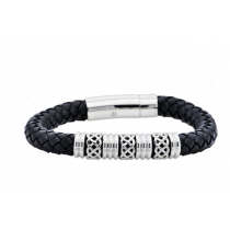 Men S Black Leather Stainless Steel Bracelet