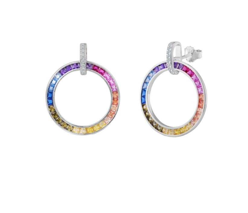 Sterling Silver Rhodium Plated Rainbow Circle Earrings With Multicolor Baguette CZ