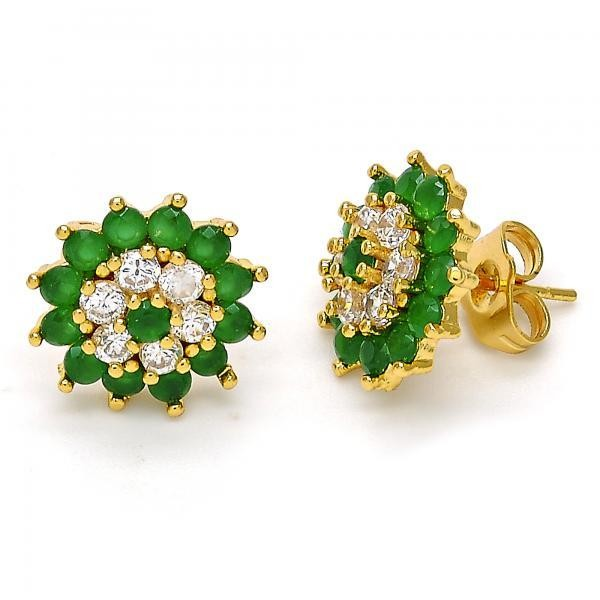 Gold Filled Stud Earring Flower Design Golden Tone With Green Cubic Zirconia