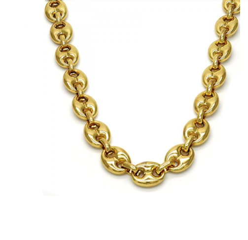 Gold Filled Unisex 28 Inches Long Fancy Necklace In Yellow Gold Tone