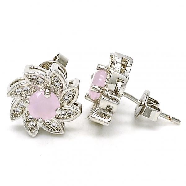 Gold Filled Stud Earring Flower Design Rhodium Tone With Rose Water Opal and Micro Pave