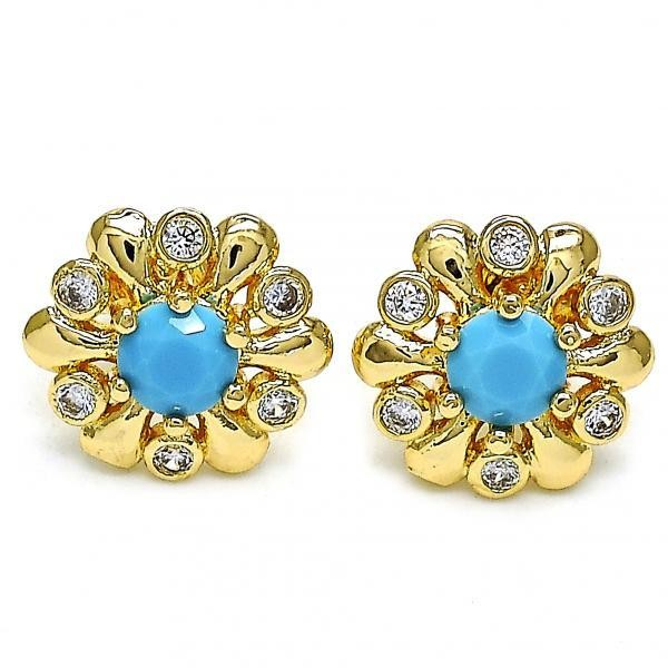 Gold Filled Stud Earring Flower Design Golden Tone With Blue Opal and Cubic Zirconia