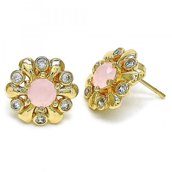 Gold Filled Stud Earring Flower Design Golden Tone With Pink Opal and Cubic Zirconia