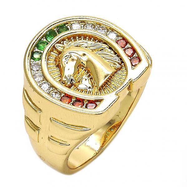 Gold Filled Mens Ring Horse Design Golden Tone With Multicolor Cubic Zirconia