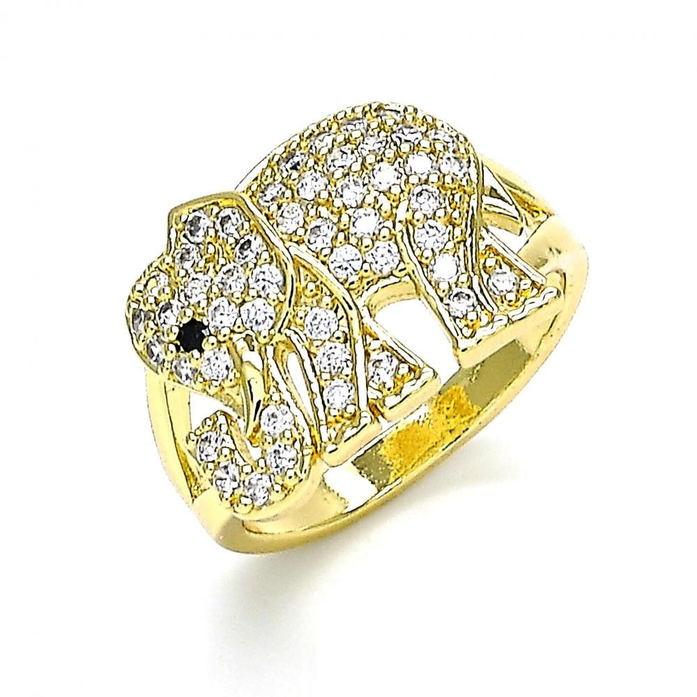 Gold Filled Multi Stone Ring Elephant Design With White and Black Micro Pave Polished Finish Golden Tone