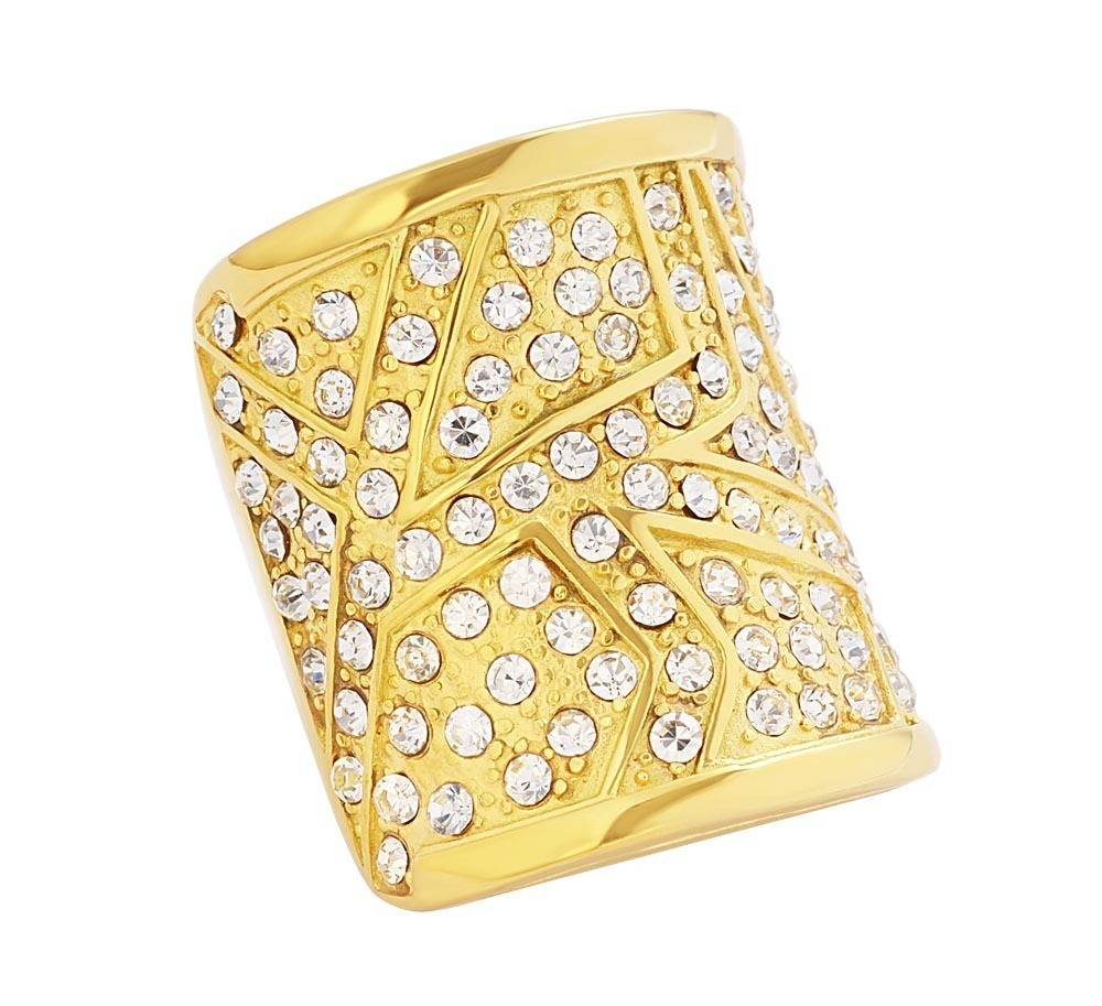 Stainless Steel Gold Tone CZ Ladies Ring