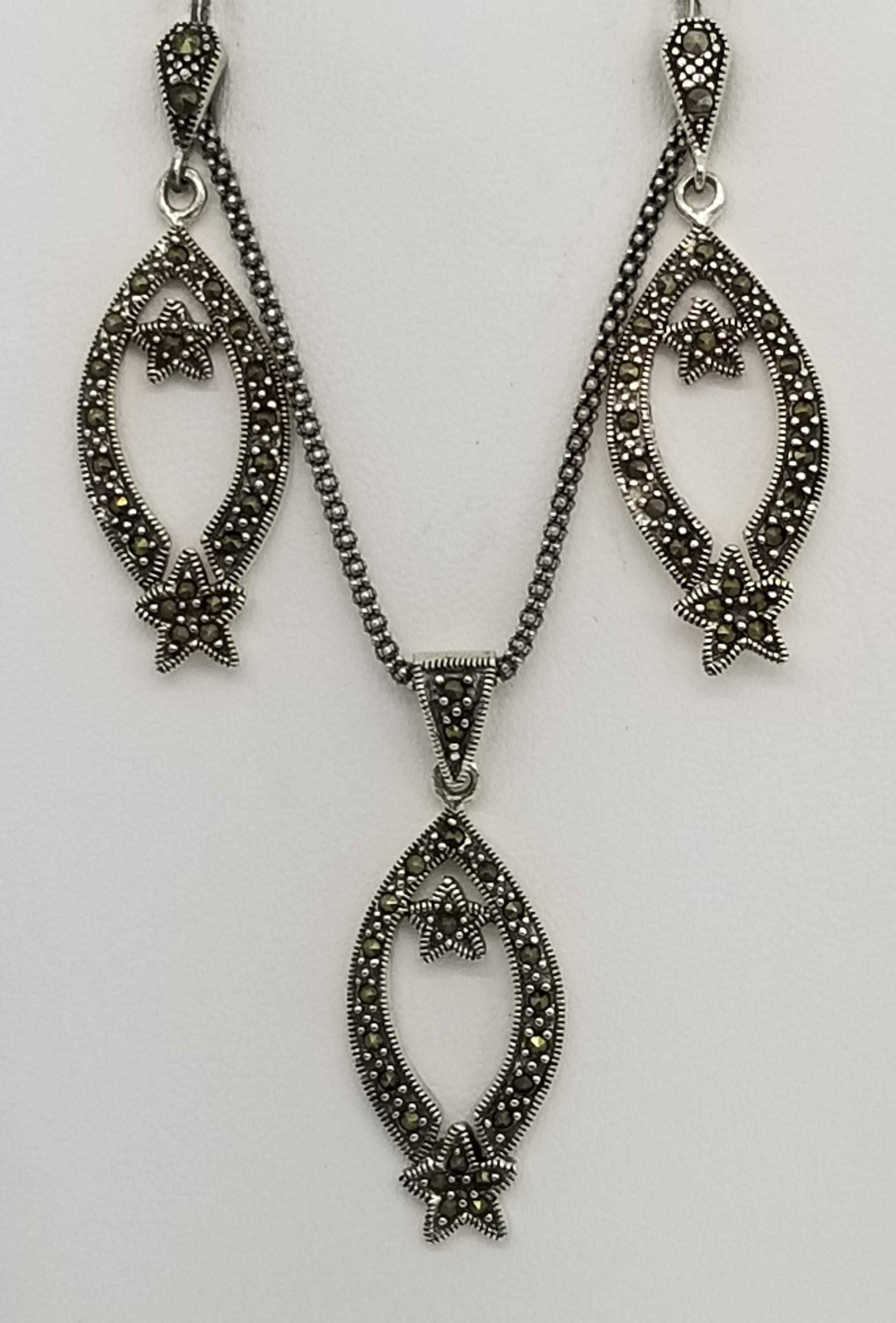d94696680a6d1 Sterling Silver Marcasite Pendant Necklace & Earrings Set - Sets
