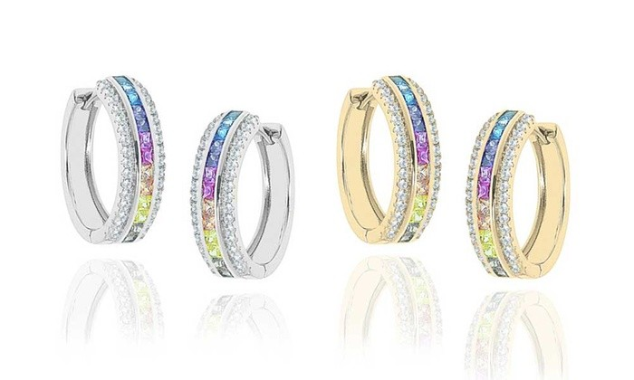 925 Sterling Silver Rainbow and white Cubic Zirconia Hoop Earrings
