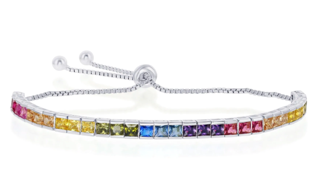 925 Sterling Silver Baguette Cut Rainbow CZ Adjustable Bracelet