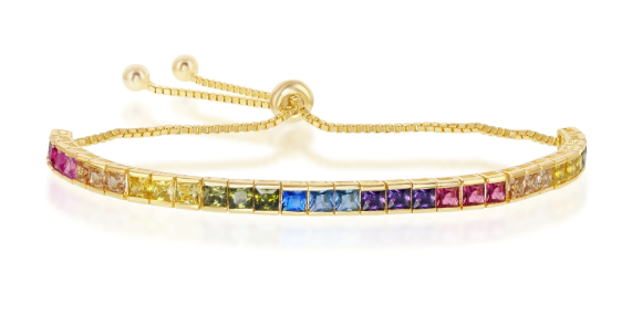 925 Sterling Silver Yellow Gold Plated Baguette Cut Rainbow CZ Adjustable Bracelet