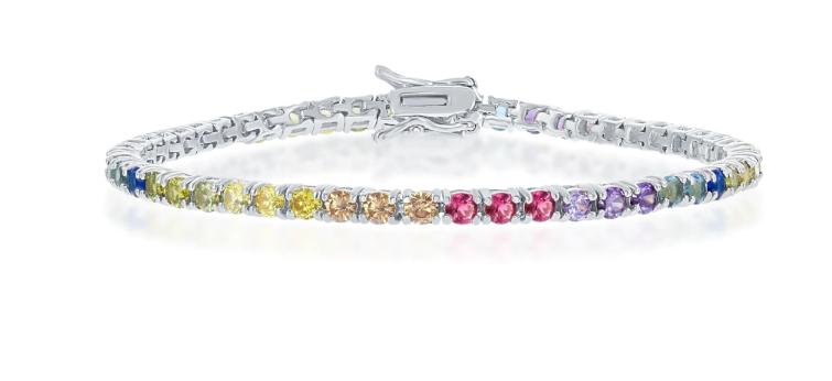 "925 Sterling Silver 3mm Round Cut Rainbow CZ Tennis Bracelet 7.5"""