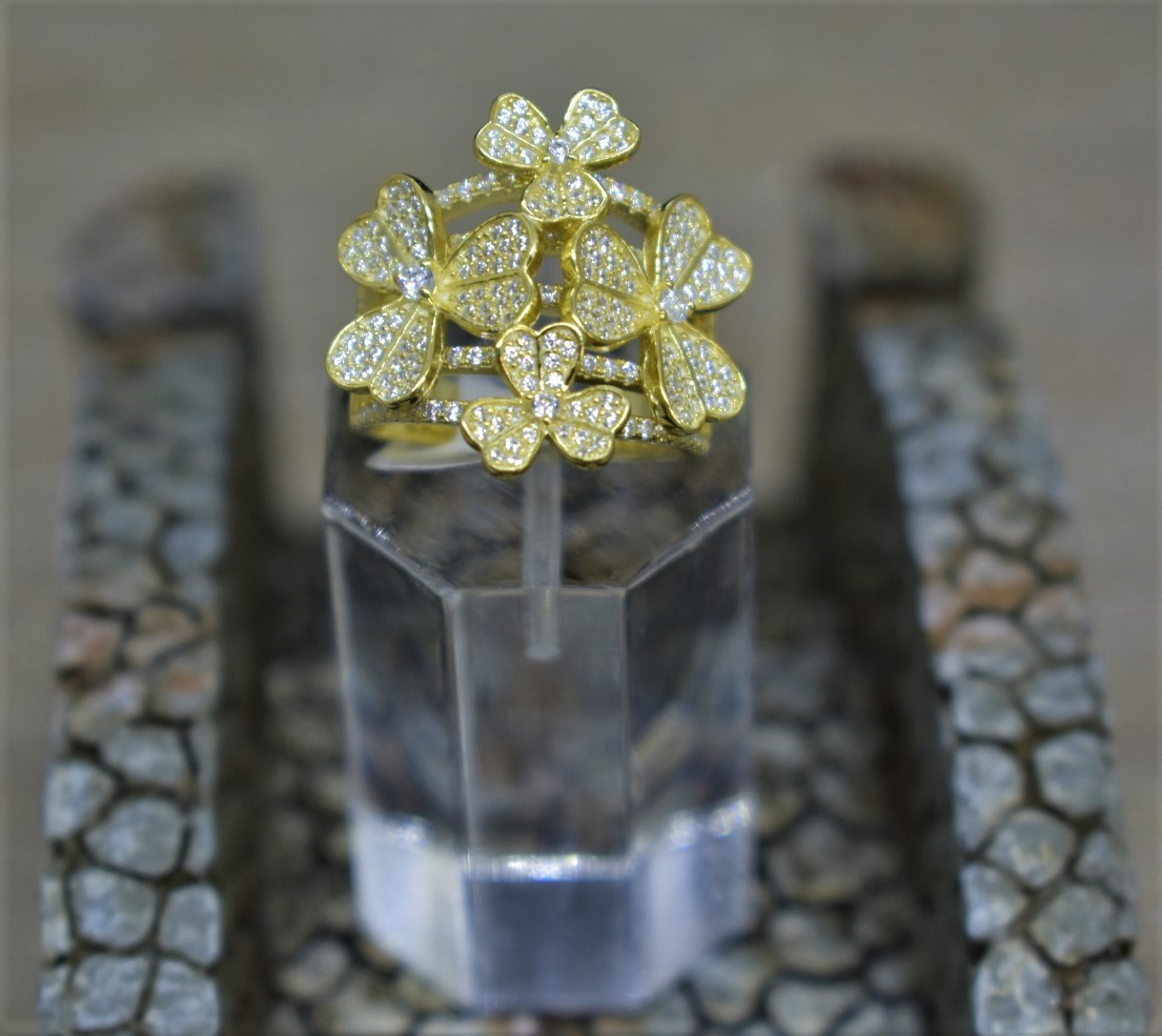 925 Sterling Silver Yellow Gold Plated Cubic Zirconia Fashion Ring