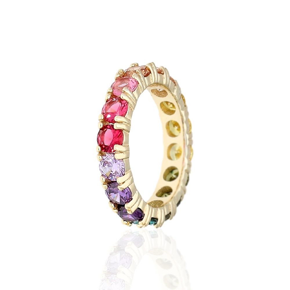 925 Sterling Silver Yellow Gold Plated Round Cut Rainbow Multi Color Cubic Zirconia Eternity Band