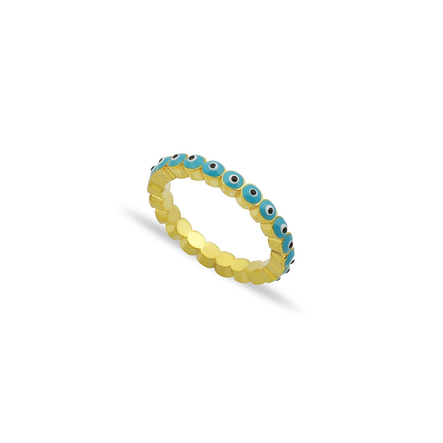 Sterling Silver Yellow Gold Plated Evil Eye Rings With Turquoise Enamel