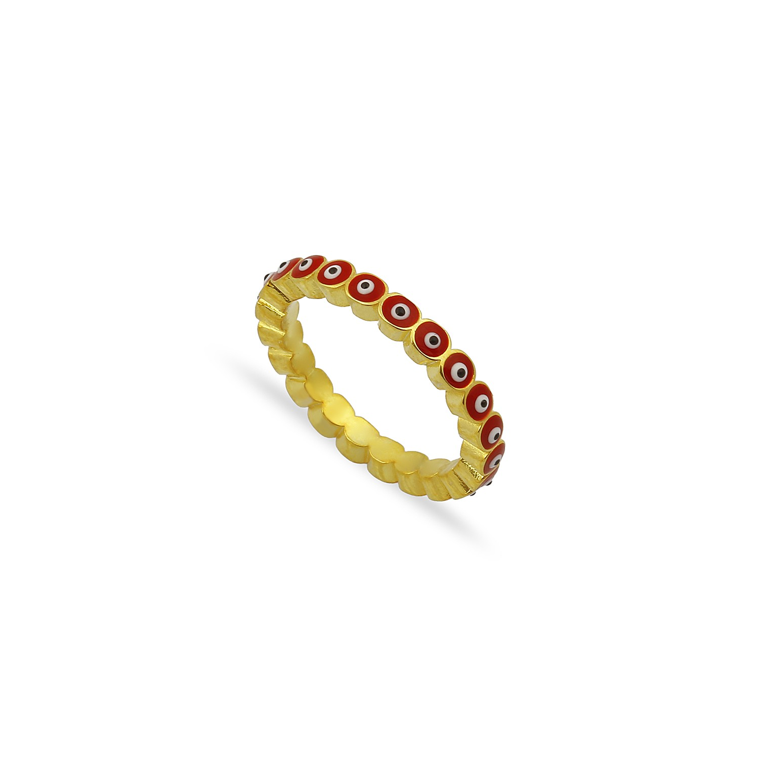 Sterling Silver Yellow Gold Plated Evil Eye Rings With Red Enamel