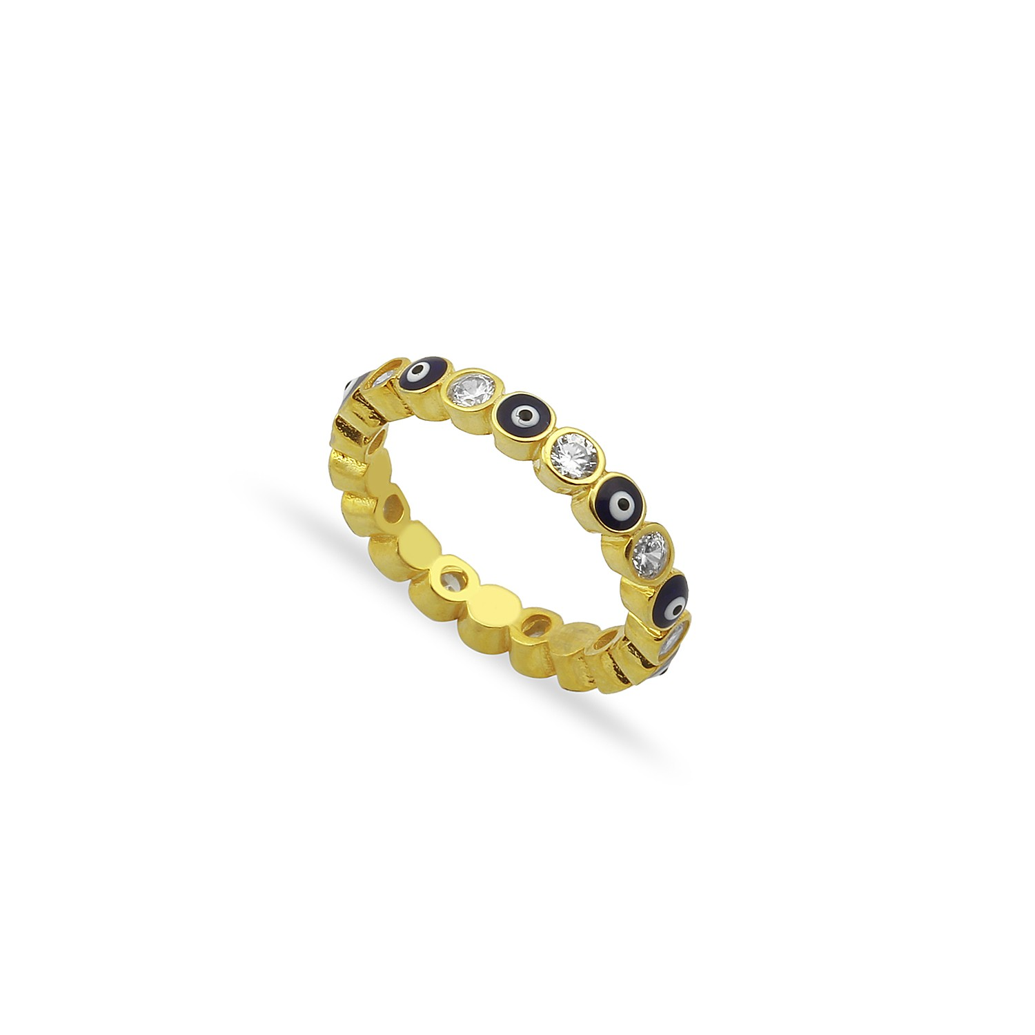 Sterling Silver Yellow Gold Plated Evil Eye Rings With Blue Enamel & CZ