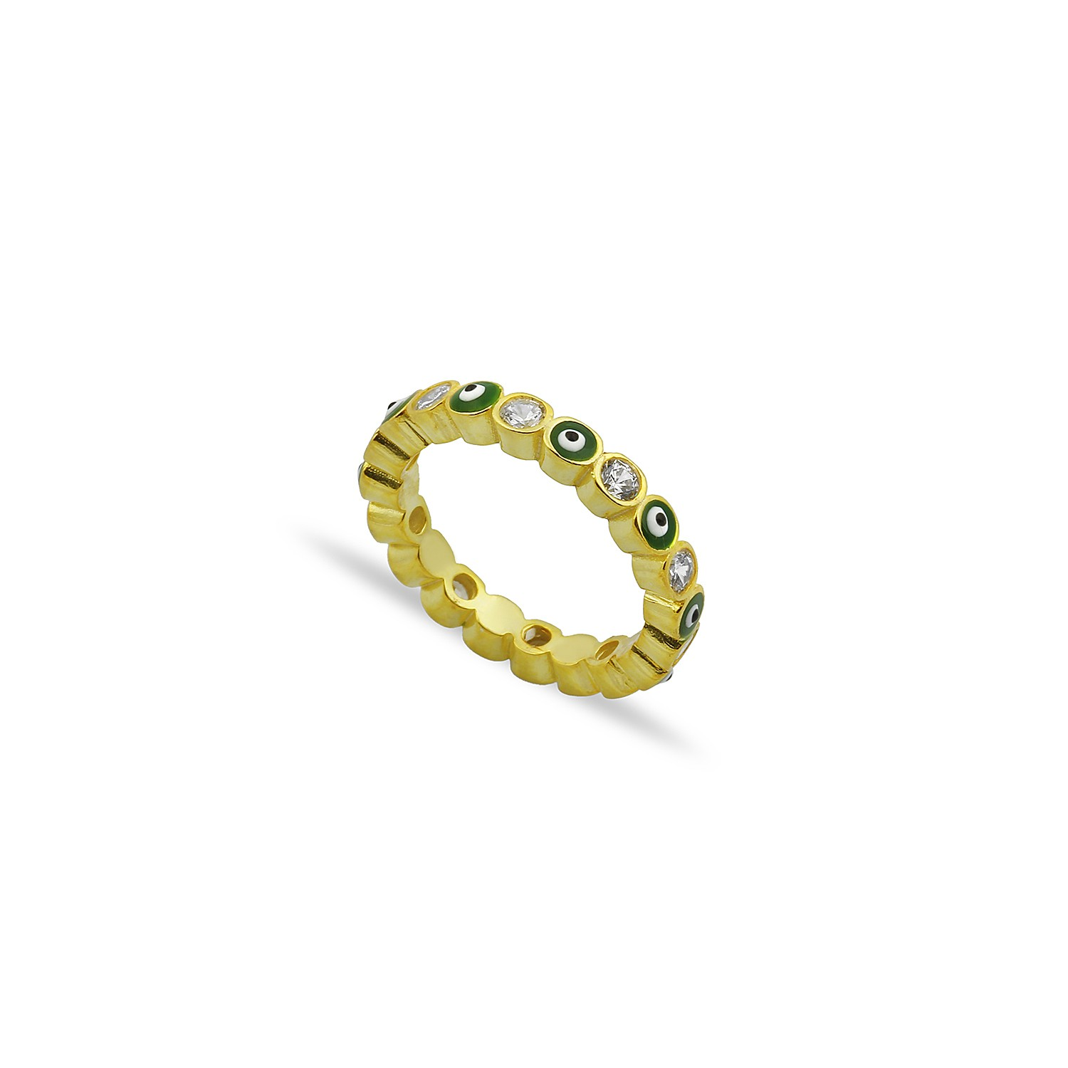 Sterling Silver Yellow Gold Plated Evil Eye Rings With Green Enamel & CZ