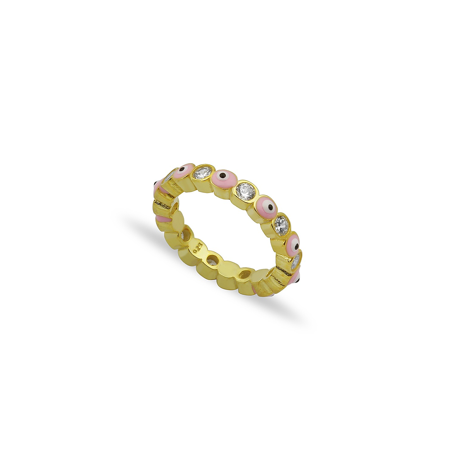Sterling Silver Yellow Gold Plated Evil Eye Rings With Pink Enamel & CZ