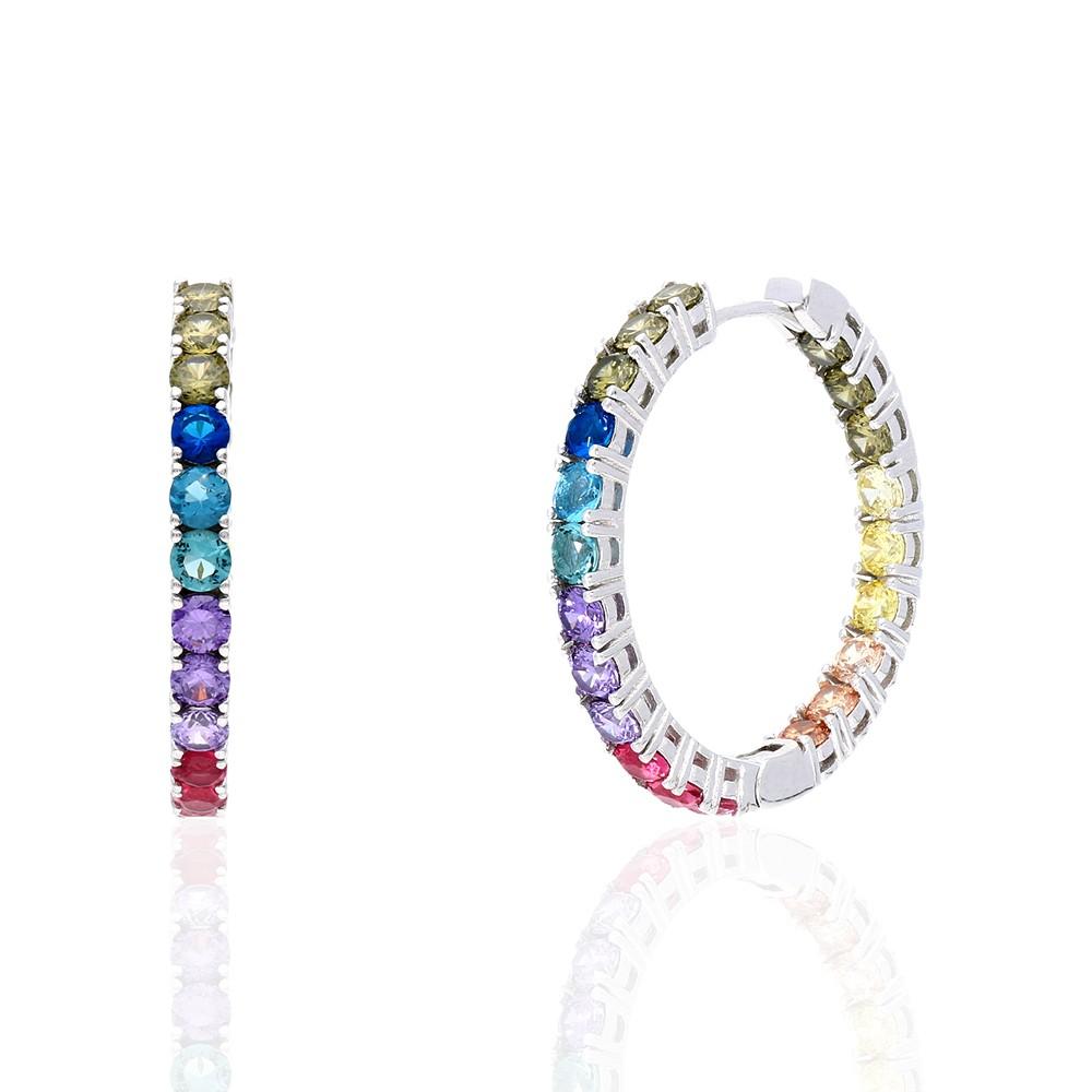 925 Sterling Silver Round Cut Rainbow Multi Color Cubic Zirconia Hoop Earrings