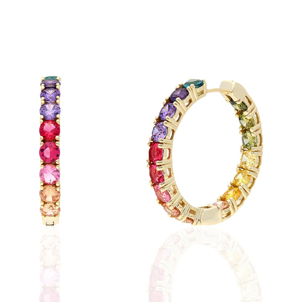 925 Sterling Silver Yellow Gold Plated Round Cut Rainbow Multi Color Cubic Zirconia Hoop Earrings