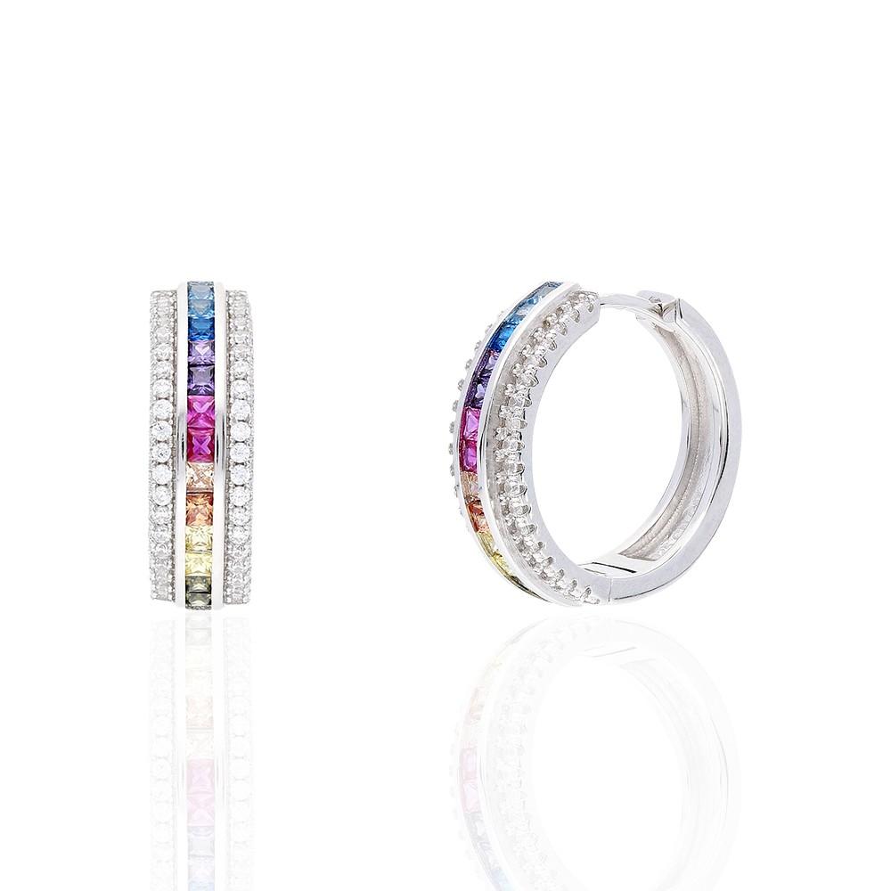 925 Sterling Silver  Rainbow Multi Color Cubic Zirconia Hoop Earrings
