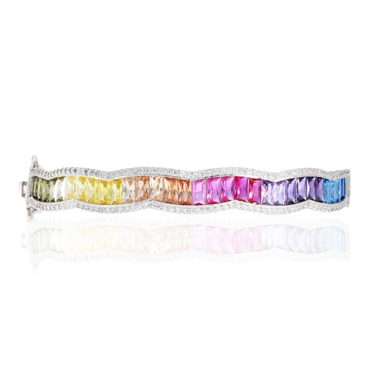 925 Sterling Silver Baguette Rainbow CZ Bangle