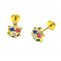 Gold Filled Stud Earring Turtle Design Multicolor Enamel Finish Golden Tone