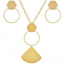 Stainless Steel Yellow Gold Tone Necklace & Earring Set 24 Inches Long With 2 Inches Extension