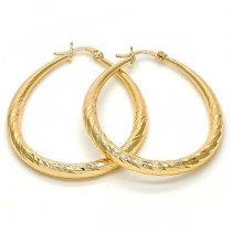 Gold Filled Gold Tone Large Hoop Teardrop and Hollow Design 40 Millimeters