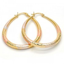 Gold Filled Tri Tone Large Hoop Teardrop and Hollow Design 40 Millimeters