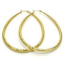 Gold Filled Gold Tone Medium Teardrop and Hollow Design Hoop Earrings 50 Millimeters