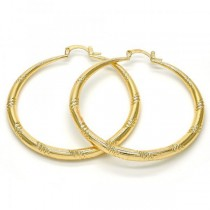 Gold Filled Gold Tone Large Hollow Design Hoop Earrings 50 Millimeters