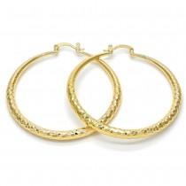 Gold Filled Medium Hoop Hollow Design Golden Tone 50mm