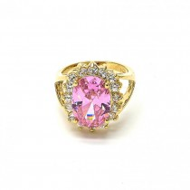 Gold Filled Multi Stone Ring Cluster Design With Cubic Zirconia Golden Tone