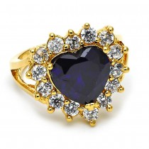 Gold Filled Multi Stone Ring Heart Design With Cubic Zirconia Golden Tone
