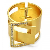 Gold Filled Bangle With White Crystal Golden Tone 60 MM Thickness (One size fits all)