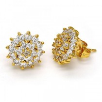 Gold Filled Stud Earring Flower Design Golden Tone With White Cubic Zirconia