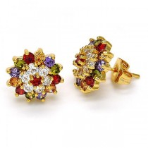 Gold Filled Stud Earring Flower Design Golden Tone With Multicolor Cubic Zirconia