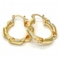 Gold Filled Medium Hoop Twist Design Polished Finish Golden Tone 32MM