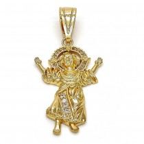 Gold Filled Religious Pendant Divino Niño Design With White Cubic Zirconia and White Micro Pave Polished Finish Golden Tone