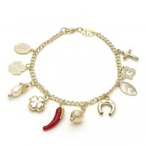 Gold Filled Charm Bracelet Four-leaf Clover and Cross Design With Ivory Pearl Polished Finish Golden Tone