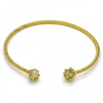 Gold Filled Bangle With White Cubic Zirconia Polished Finish Golden Tone Bangle