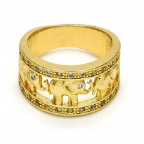 Gold Filled Multi Stone Ring Elephant Design With Micro Pave Golden Tone