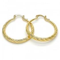 Gold Filled Gold Tone  Medium Hollow Design Hoop Earrings 30 Millimeters