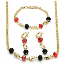 Gold Filled Necklace Bracelet and Earring Elephant Design With Garnet and Black Crystal Polished Finish Golden Tone