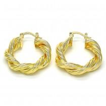 Gold Filled Medium Hoop Twist Design Golden Tone 30MM