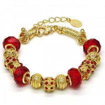 Gold Filled Fancy Bracelet Flower Design Golden Tone With Garnet Crystal