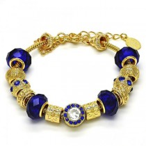 Gold Filled Fancy Bracelet With Sapphire Blue and White Crystal Golden Tone