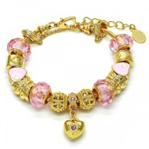 Gold Filled Fancy Bracelet Heart and Butterfly Design Golden Tone With Pink Crystal Pink Enamel Finish