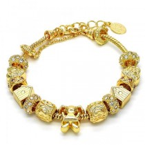 Gold Filled Fancy Bracelet Little Girl and Heart Design Golden Tone With White and Pink Crystal